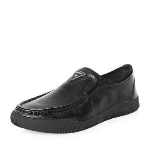 Belle/百丽2018春季新品专柜同款摔纹小牛皮革/纺织品男皮鞋B2F13AM8