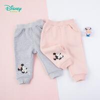 迪士尼Disney童装 甜美米妮女宝抓绒长裤秋季新品保暖裤子女童百搭休闲裤193K891