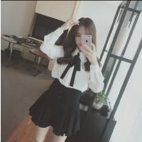 韩范雪纺白衬衫女长袖春季新款蝴蝶结飘带娃娃领学院风衬衣潮