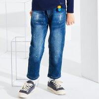 【2件2.5到手价:82.5】米喜迪mecity童装冬新款男童加绒加厚口袋帐缝刺绣牛仔长裤