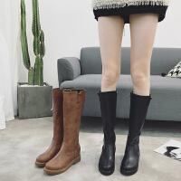 秋冬新款加绒韩版内增高英伦侧拉链长靴高筒靴子马靴女中筒靴女