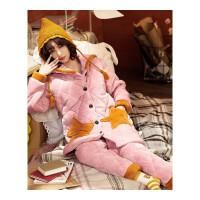 睡衣女秋季三层珊瑚绒夹棉袄冬天加厚保暖可爱学生套装星星家居服