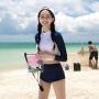 温泉泳衣韩国保守防晒长袖高腰游泳衣女分体三角显瘦遮肚运动泳装