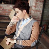 针织衫开衫棉薄韩版V领毛衣外套男拼色青年毛线衣秋男士