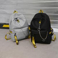 双肩包女2018新款韩版潮百搭撞色高中学生书包男个性休闲旅行背包
