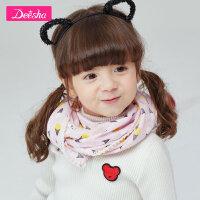 【秒��r:29】笛莎女童�b2019春季新款�和���巾甜美印花小女孩多色��巾