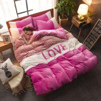珊瑚绒四件套加厚加绒冬季床单被套床上用品水晶绒法莱绒法兰绒 豆沙