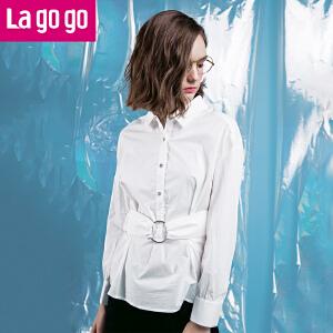 Lagogo2018春季新款修身显瘦纯棉衬衫收腰商务休闲翻领白色上衣女