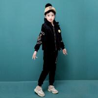 女童套装冬装2018新款儿童金丝绒潮衣时髦洋气三件套时尚加厚童装 黑色