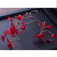 中式新娘红色头饰手工头花配饰盘发饰品新娘结婚礼服花朵头饰发箍