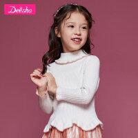 【3折价:87】Z笛莎童装女童套头针织衫冬装新款中大童木耳边儿童长袖毛衣