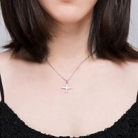 皇家莎莎 925银项链女锁骨链韩版时尚小飞机仿水晶微镶吊坠送女友生日礼物
