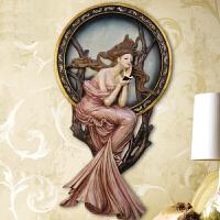 式古典欧式墙面装饰挂件客厅餐厅卧室墙饰玄关背景墙咖啡厅酒吧装饰品天使紫衣少女壁挂 英国皇室贵族紫衣少女浮雕