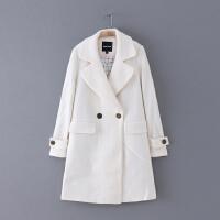 064 冬季新款简约纯色翻领显瘦长袖外套女式毛呢大衣