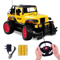 【2件5折】儿童电动遥控越野车玩具车模型1:18方向盘仿真开门电动遥控玩具小汽车3-6岁男孩玩具