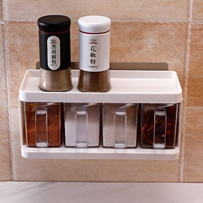 厨房用品置物架盐罐免打孔调味盒壁挂调料盒套装家用调味罐收纳盒 可置物调料盒【10年掉落包退换】
