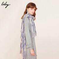 【5/26-6/1 一口价:79元】 Lily春女装商务时髦紫色撞色斑马纹条纹围巾1191AZ449