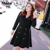 MsShe大码女装2017新款秋装胖妹妹双排扣连衣裙外套M1730027