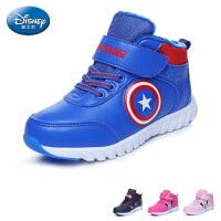 迪士尼disney童鞋冬季新款儿童运动鞋男女童户外休闲鞋加绒保暖高帮鞋 (5-15岁可选) DS2604