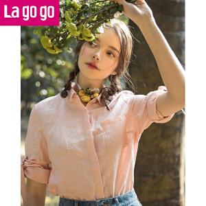 Lagogo2018春夏季新款时尚宽松吊袖纯色软妹棉麻衬衫女内搭打底衫