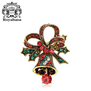 皇家莎莎胸针 女款韩版时尚唯美圣诞铃铛胸针胸花 浪漫圣诞夜