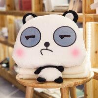 卡通熊猫抱枕被子两用汽车办公室靠枕靠垫午睡午休空调毯子枕头