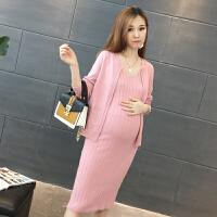 2018春装针织连衣裙两件套孕妇秋装套装2018新款韩版潮妈