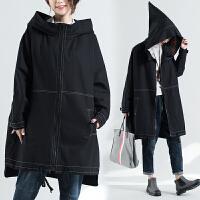 冬季外套加肥加大码女装中长款200斤胖mm妹牛仔女巫宽松显瘦连帽