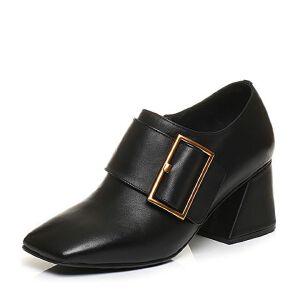 Tata/他她2017秋黑色牛皮时尚大方扣方头鞋粗高跟女皮鞋FU820CM7