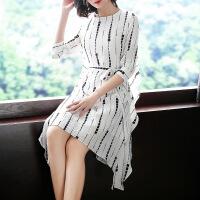 2018春夏新品女装原创设计黑白连衣裙圆领七分袖不规则中裙A30604 白色