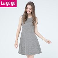 Lagogo2019秋冬新款时尚打底裙圆领无袖连衣裙女千鸟格高腰背心裙