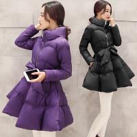 韩版公主裙棉衣女式冬装加厚中长款字斗篷收腰系带羽绒