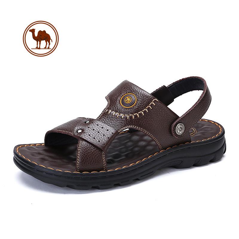 骆驼牌男凉鞋 夏季休闲透气凉鞋男士真皮露趾沙滩凉拖鞋