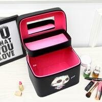 化妆包大容量新款双层化妆箱手提大号便携女卡通可爱旅行防水 黑色 CC猫双层