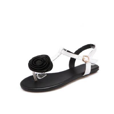 ELEISE美国艾蕾莎新品162-A3韩版超纤皮平跟舒适女士凉鞋
