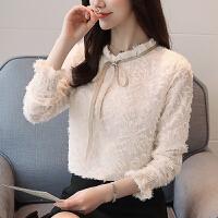 春夏季新款韩版雪纺衫圆领长袖修身显瘦衬衣打底衫女