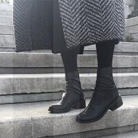 秋冬英伦骑士靴褶皱中筒靴女黑色粗跟踝靴圆头加绒马丁靴中跟短靴SN6329 黑色(皮里) 3007-3