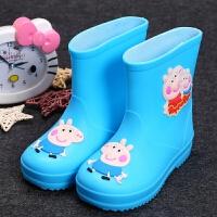 卡通小童雨鞋宝宝小孩儿童雨鞋男童保暖加绒雨靴小童防滑女童水鞋 蓝色 不加内胆