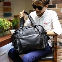 男包单肩包男士斜挎包时尚休闲韩版皮包手提包旅行包潮包商务包 黑色 满2件送手包