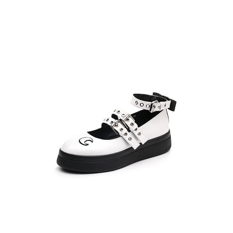 Teenmix/天美意2018春专柜同款牛皮lo风女单鞋尼克斯之禁CCF06AQ8