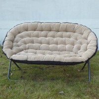 0721102419028懒人沙发欧式双人布艺沙发单人沙发折叠沙发椅家用休闲椅 米白色 双人
