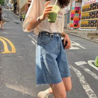 大码牛仔短裤2020夏季新款女装胖妹妹mm高腰款式显瘦阔腿五分裤子