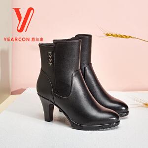 意尔康女鞋 2017冬季新款真皮女靴时尚粗跟高跟短筒靴优雅棉靴女