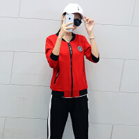 运动套装女秋装休闲三件套2018秋季新款女装时尚长袖韩版秋天衣服 M 女