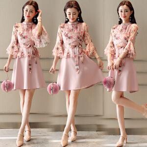 风轩衣度 连衣裙2018年夏季新款半高领高腰套头单件七分袖中长款2331-1839
