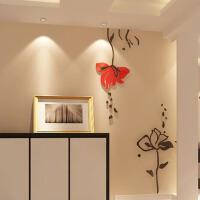 亚克力3d立体自粘墙贴家装饰品客厅卧室玄关背景墙壁纸贴画 黑色+中国红 大