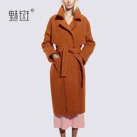 【新年狂欢到手价:366.8】魅斑2019冬装新品女装欧美纯色中长款毛呢外套女宽松翻领羊毛大衣