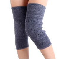 羊毛羊绒护膝 男女户外运动骑行护具秋冬季加厚保暖护膝弹力透气针织 灰色 S