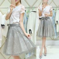 春夏季短袖女蕾丝连衣裙子套装中长款修身显瘦欧根纱蓬蓬裙两件套 图片色