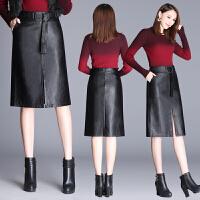 秋冬新款高腰显瘦皮裙包臀裙中长款开叉半身裙子女黑色大码一步裙